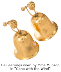 "Bell earrings worn by Oma Munson in ""Gone with the Wind"""